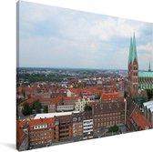 Stadsgezicht van de Duitse stad Lübeck Canvas 40x30 cm - klein - Foto print op Canvas schilderij (Wanddecoratie woonkamer / slaapkamer) / Europese steden Canvas Schilderijen