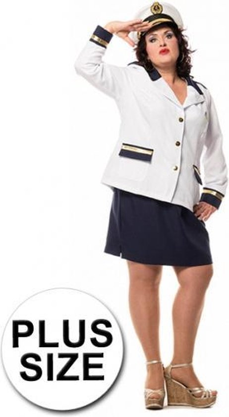 Grote maten kapitein kostuum dames 44 (2XL)