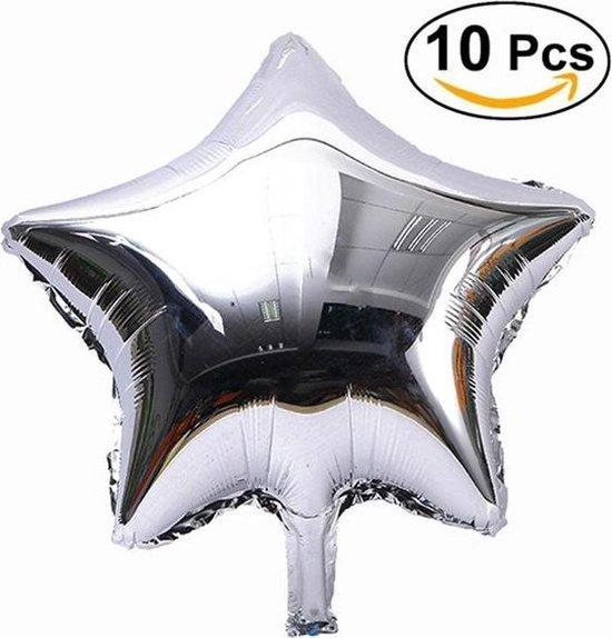 10x Grote Folieballon Ster - Ballonen Groot Folie Party Feest Bruiloft Helium Assorti - Zilver Kleurig