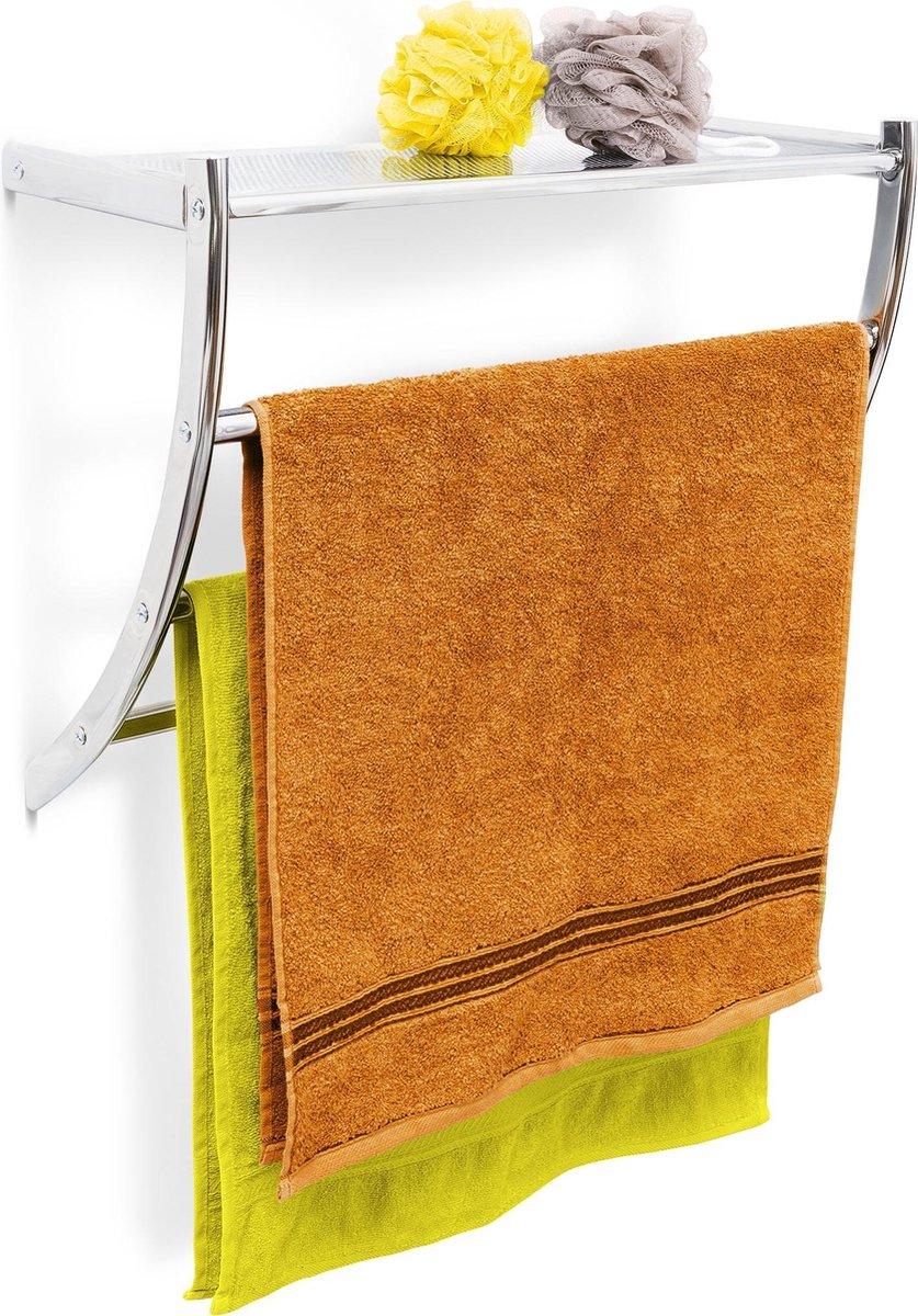 relaxdays handdoekrek RVS met plateau, handdoekhouder, roestvrij staal, plankje