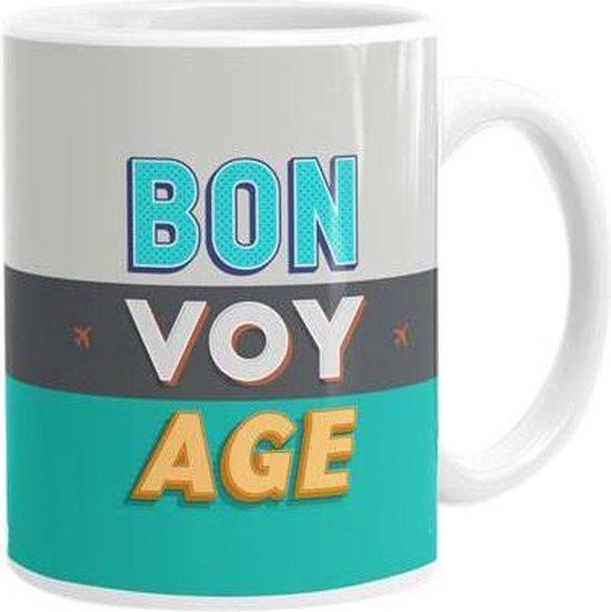 Bon Voy Age - Mok / Beker - Keramiek - Warme/Koude dranken - Voor Reisliefhebbers - Vaatwasser & Magentron geschikt