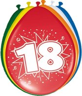 8x stuks Ballonnen versiering 18 jaar