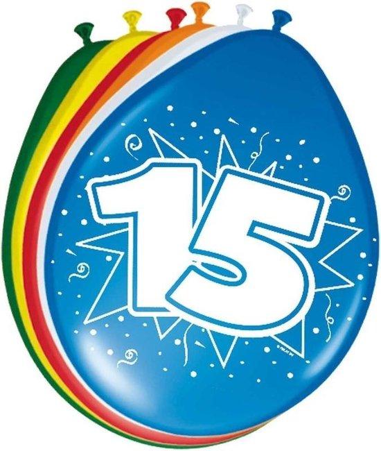8x stuks Ballonnen versiering 15 jaar