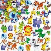 Foam stickers safari jungledieren - knutselspullen voor kinderen - scrapbooking verfraaiing om te maken en versieren kaarten decoraties en knutselwerkjes (96 stuks)