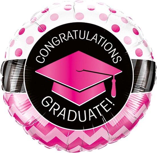 Geslaagd Helium Ballon Congratulations Roze 45cm leeg