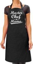 Master chef mama cadeau bbq/keuken schort dames -  L 86 x B 72 cm - Zwart