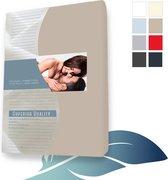 24-Bedding Duopak (2 stuks) Hoeslaken topper topdek Jersey elastaan - Taupe - 90x210 cm