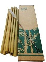 Bamboe rietjes - 10 stuks - Inclusief schoonmaakborstel