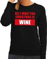 Foute kersttrui / sweater All I Want For Christmas Is Wine zwart voor dames - Kersttruien M (38)