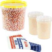 Afbeelding van Popcornmais zoet startpakket 1,4 KG mais, popcorn suiker en puntzakjes