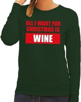 Foute kersttrui / sweater All I Want For Christmas Is Wine groen voor dames - Kersttruien L (40)
