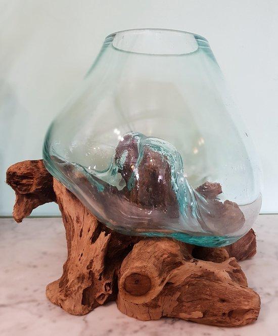 Glas op Stronk,Vaas op Hout, Viskom Medium