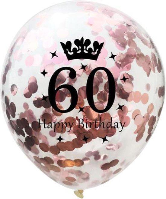 60 Jaar Ballonnen Set - Confetti - 5 stuks - Verjaardag Feest - Versiering - Metallic Rose - 30cm