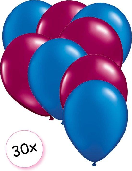 Ballonnen Blauw & Fuchsia 30 stuks 27 cm