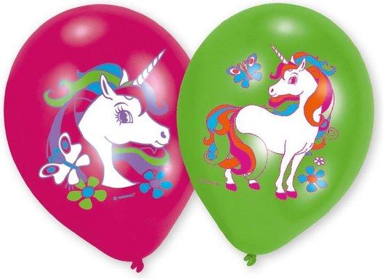 Amscan Eenhoorn verjaardag ballon Ø 27 cm - roze & groen - Set-6
