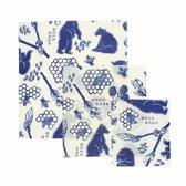 Bee's Wrap Bees&Bears 3-pack combinatie (small/medium/large) - Wit | Blauw