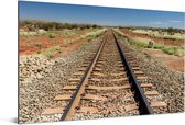 Een spoorweg gefotografeerd tijdens een zonnige middag Aluminium 30x20 cm - klein - Foto print op Aluminium (metaal wanddecoratie)
