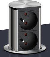 Bachmann Elevator dubbele contactdoos/stopcontact. Aluminium. Belgische aarding.