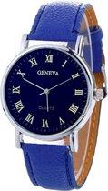 Fako® - Horloge - Geneva Blue - Blauw