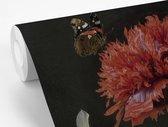 Stilleven met bloemen in een glazen vaas - Schilderij van Jan Davidsz de Heem fotobehang vinyl breedte 155 cm x hoogte 240 cm - Foto print op behang (in 7 formaten beschikbaar)