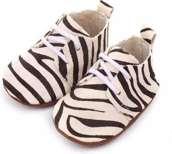 Leren Babyschoenen met Veters en leuke Zebraprint 0-6 maanden