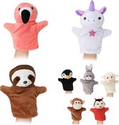 relaxdays handpoppen voor kinderen - 8x poppenkastpoppen - dieren - poppen - handpop