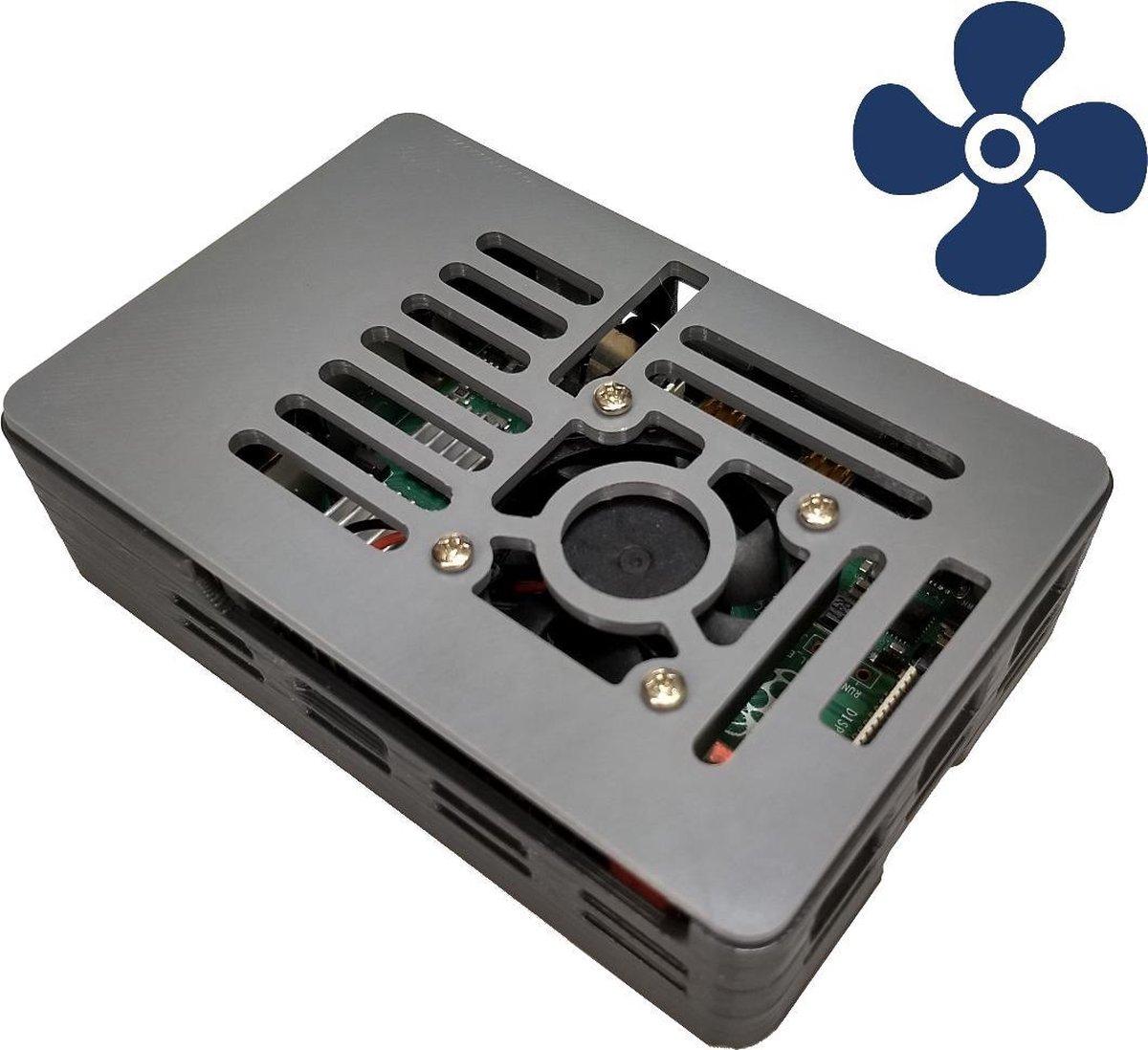 Raspberry Pi 4 behuizing met koelblokjes en met ventilator