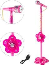 Kindermicrofoon op statief – Speelgoedmicrofoon  op standaard – Ingang voor laptop, tablet of telefoon - Roze