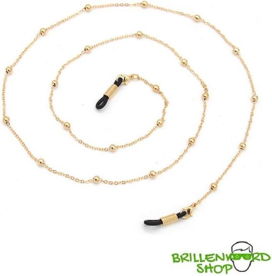 Brilketting – brillenketting – ketting voor bril – goud met bolletjes