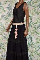 Azara rok met koord kant pompom zwart - Maat S/M