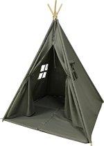 Sunny Alba Tipi Tent Grijs - Wigwam Speeltent met ramen - 120x120x160cm - met Kussen kleed