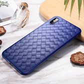 Let op type!! ROCK Slim Weave Style TPU Soft Case for iPhone XS(Blue)