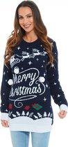 "Foute Kersttrui Dames - Christmas Sweater - Kerstjurk ""Merry Christmas met Pompons"" - Kerst trui Vrouwen Maat L"