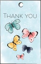 cadeaulabel vlinder - minicard - thank you - vlinders - butterfly - (15st)