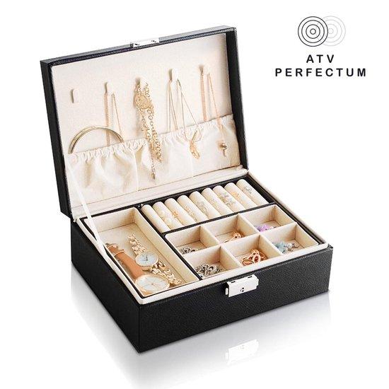 ATV PERFECTUM Luxe Sieradendoos Zwart- 2 Lagen - juwelendoos - Sieradenbox Opberger - sieraden doos - juwelen doos - Opbergbox