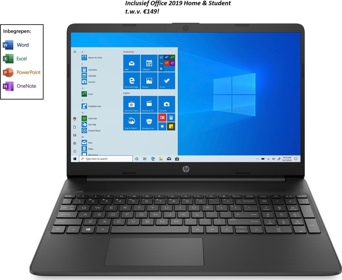 HP 15 inch laptop - Full HD - AMD Athlon Gold - 8GB RAM - 256GB SSD - Windows 10 Home - incl. Office 2019 Home & Student t.w.v. €149! (Word, Excel, PowerPoint, OneNote)