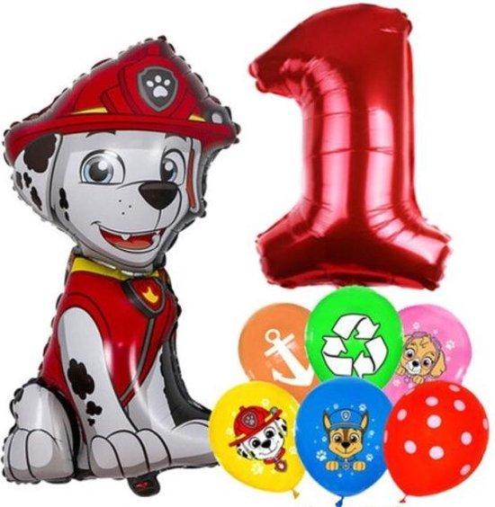 Paw Patrol Ballonnen Set Marshall - 1 Jaar - Latex Ballonnen - Decoratie