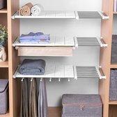 TDR - Verstelbaar opbergrek Uitschuifbare separatorplank, plankkastorganizer, voor kledingkast, kast, boekenkast Compartiment verzamelen-73cm tot 130cm-wit