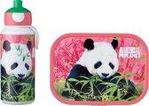 Mepal – Lunchset campus (pu + lb) – pop-up drinkfles en broodtrommel voor kinderen – Animal Planet Panda – bento box – lekvrij