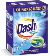 Dash® AlpenFris 3 in 1 Caps XXL economy pak I 60 wasbeurten I Wasmiddelcapsules voor witte was I 3 in 1 formule voor frisheid, zuiverheid en reinheid | 1.59 kg