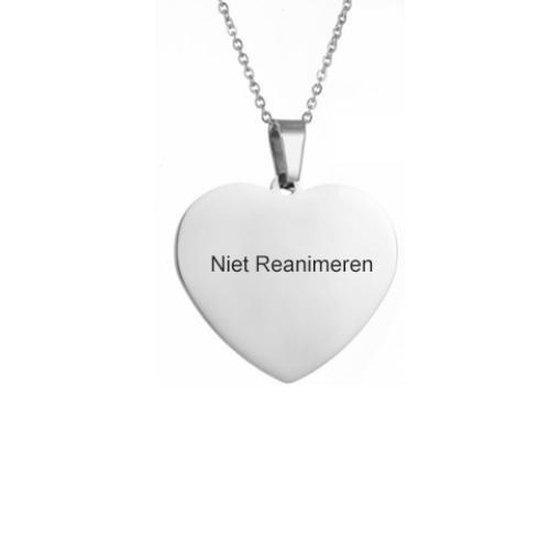 Gegraveerde Niet Reanimeren Ketting - Do Not Resuscitate - Gegraveerd - Hart - Hartje - Roestvrij Staal - RVS - Verstelbaar - Zilverkleurig