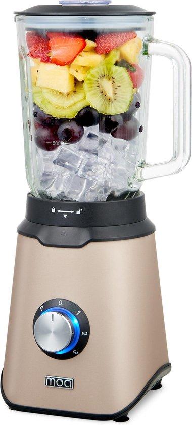 MOA Krachtige Blender - Met glazen kan - Blender Smoothie - ice crusher - 1,5 liter - Champagne - 1000 Watt - TB61C