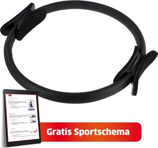 Pilates Ring Pro Fit SPORTS® + Sport Schema - Pilates - Fitness Ring - Yoga Ring - Thuis Sporten - Pilates Oefeningen - Yoga  - Sport Ring - Bekkenbodemtrainer - Fitness Materialen - Fitness Accessoires - Zwart – Ø 38cm