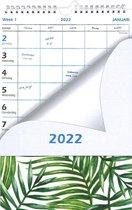 Familiekalender 2022 - Gezinsplanner - Verlengde schild - Weekkalender - Weekplanner - voor maximaal 5 personen - Bladeren - Wit   Groen