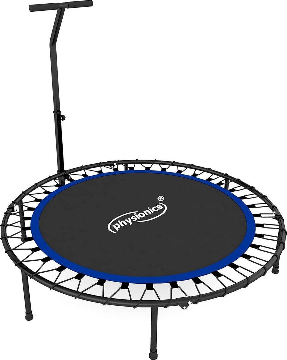 Physionics- Fitness trampoline - diameter 101 cm, in hoogte verstelbare handgreep, tot 120 kg, inklapbaar - mini-trampoline, aerobic trampoline voor volwassenen en kinderen, jumper, rebounder
