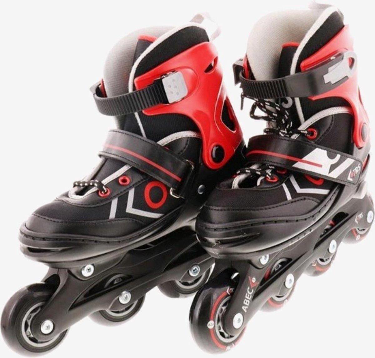 Verstelbare inline skates - ( MAAT 30 - 33 ) Buitensport skates Zwart / Rood