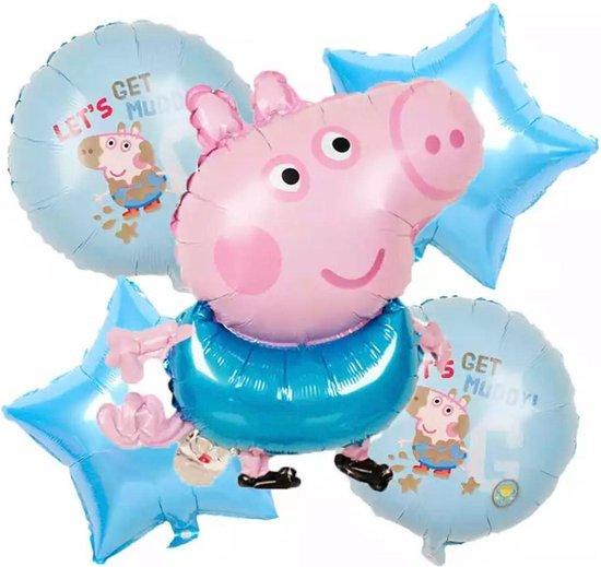 Peppa Pig Folie Ballonnen 5 stuks Cartoon Peppa Figuur Globos Baby Shower Meisje Jongen Gift Verjaardagsfeestje