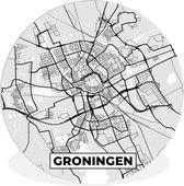 Wandcirkel - Muurcirkel Binnen - ⌀ 30 cm - Kunststof - Stadskaart - Groningen - Grijs - Wit