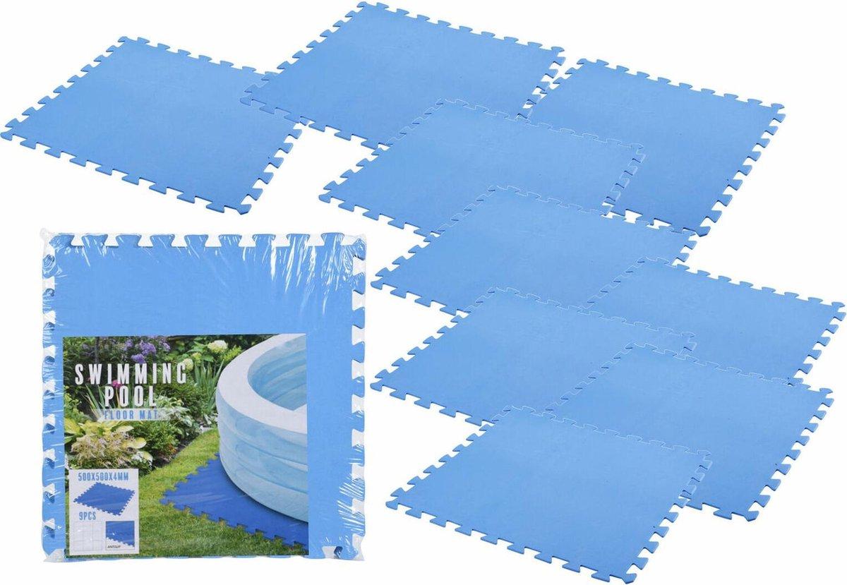 Meisterpool® Zwembad tegels - Set van 9 stuks - Bodem bescherming - Ondertegels - Ondervloer - Foam tegels - Matten - Puzzelmat voor zwembad - zwembadtegels - 50x50x0.4cm / 2.25m2