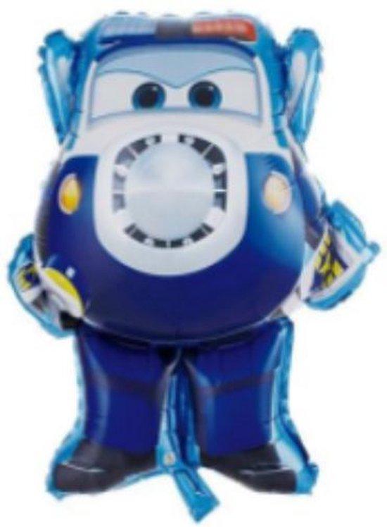 Super Wings Paul ballon - XL - Blauw- 81x70cm - Vliegtuigen - Verjaardag - Versiering kinderfeestje - Super Wings - Folie ballon - Feest - Leeg - Dizzy - Jett - Paul - Donnie